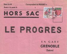 ISERE - MONTBONNOT ST MARTIN - ENVELOPPE HORS SAC LE 16-2-1965 - AFFRANCHISSEMENT 0.30c - COQ ET BLASON - (P1) - Postmark Collection (Covers)
