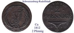 DL-1812, 2 Pfennig,  Schwarzenburg-Rudolstadt - Piccole Monete & Altre Suddivisioni