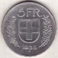 Suisse . 5 Francs 1935 B En Argent - Svizzera