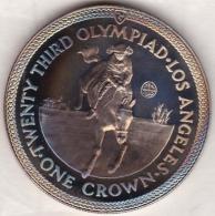 Isle Of Man . 1 Crown 1984 Proof, Olympiad Los Angeles. EQUESTIRAN , En Argent - Regionale Währungen