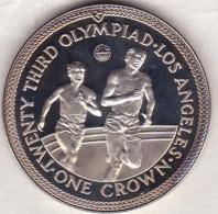 Isle Of Man . 1 Crown 1984 Proof, Olympiad Los Angeles. RUNNERS , En Argent - Isle Of Man