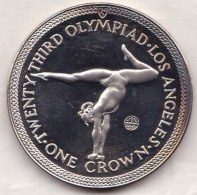 Isle Of Man . 1 Crown 1984 Proof, Olympiad Los Angeles. GYMNASTICS, En Argent - Isle Of Man