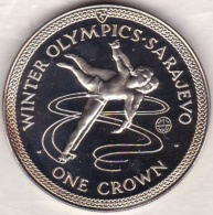 Isle Of Man . 1 Crown 1984 Proof, Winter Olympics Sarajevo, TORVILL And DEAN, En Argent - Isle Of Man