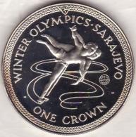 Isle Of Man . 1 Crown 1984 Proof, Winter Olympics Sarajevo, TORVILL And DEAN, En Argent - Regionale Währungen