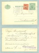 Sweden. Stationery Commercial Card. 1923. 5 Ore King + 5 Ore Lion Uprated - Postal Stationery