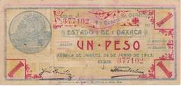 BILLETE DE MEXICO DE 1 PESO DEL ESTADO DE OAXACA DEL 26 DE JUNIO DE 1915   (BANKNOTE) RARO - México