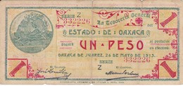 BILLETE DE MEXICO DE 1 PESO DEL ESTADO DE OAXACA DEL 24 DE MAYO DE 1915   (BANKNOTE) RARO - Mexico