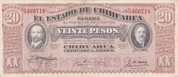 BILLETE DE MEXICO DE 20 PESOS DEL AÑO 1915 ESTADO DE CHIHUAHUA (BANKNOTE) - México
