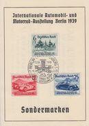 DR Anlassblatt Zur Int.Automobil-und Motorrad-Ausstellung 1939 Minr.686-688 SST Berlin 17.2.39 FDC - Briefe U. Dokumente
