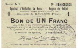 Bon Syndicat Billet Nécessité Chambre Commerce  De RETHEL  12-7-1916 - Bons & Nécessité