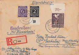 Gemeina. R-Brief Mit Rückschein Mif Minr.912 UR, 916, 960 OR Penig 17.6.47 - Gemeinschaftsausgaben