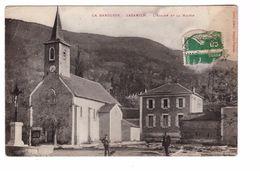 65 La Barousse Cazarilh Eglise Et La Mairie Cpa Animée Correspondance 1912 , Voir état Ci Dessous - Altri Comuni