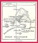 Carte Des îles Gambier Larousse 1907 - Vieux Papiers