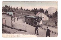 73 Aix Les Bains Sommet Mont Revard Départ D' Un Train Gare Terminus Avec Train Locomotive Cpa Animée Carte Colorisée - Aix Les Bains