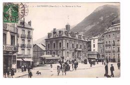 65 Cauterets La Mairie Et La Place Cpa Animée Cachet 1913 - Cauterets