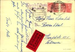 1957, Eilbotenkarte Mit Senkrechtem Paar 5 Jahresplan Ab BELRIN-PANKOW Nach Berlin-Wilhemsruh. - DDR