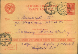 1941, LENINGRAD BLOCKADE: 20 Kop. Stationery Card Sent From UFA,written Sep. 9th 41 (closing Of The Bloackde) To LENINGR - 1923-1991 URSS