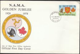 Isle Of Man 1978 / NAMA North American Manx Association / Eagle, Canadian Leaf / Heritage / FDC - Aquile & Rapaci Diurni