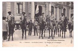 65 Cauterets Les Guides à Cheval Le Drapeau De La Compagnie Cpa Animée Cachet 1905 - Cauterets