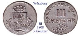 DL-1808, 3 Kreutzer, Würzburg - Piccole Monete & Altre Suddivisioni