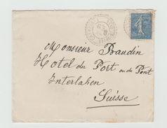 LSC 1905 - Cachet Perlé - CHAMPAGNE - YT 132 Seul Sur Lettre Pour SUISSE - Cachet INTERLAKEN - 1877-1920: Periodo Semi Moderno