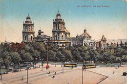 """06636 """"MESSICO - LA CATEDRAL"""" ANIMATA, TRAMWAY. CART  SPED 1912 - Messico"""