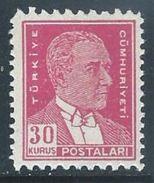 Turkey  1950    Sc#1030   30K Ataturk MLH*   2016 Scott Value $25.50 - 1921-... Republic