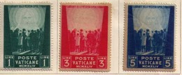 1945 - Mint Hinged (3) Stamps - Vatican City -Jesus Inscribed -Scott 99,100a,101 Sc100a Jesus Face Almost Omitted VF - Vatican