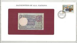 Billet Neuf  , Enveloppe Timbrée Oblitérée , INDE , Government Of India , One, 1 Rupee , Frais Fr : 1.95 Euro - Inde