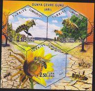 O) 2014 TURKEY, BEES - ANTHOPHILA, POLLINATION, FLOWER - HELIANTHUS ANNUUS- EDIBLE OIL-EDIBLE FRUITS, SOUVENIR MNH - 1921-... Republic