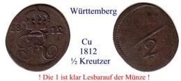 DL-1812, 1/2 Kreutzer,  Württemberg - Piccole Monete & Altre Suddivisioni
