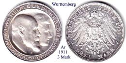 DL-1911, 3 Mark, Württemberg - [ 2] 1871-1918 : German Empire