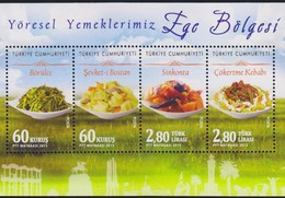 O) 2015 TURKEY, TYPICAL FOODS - GASTRONOMY, AEGEAN REGION - ARCHITECTURE- HERITAGE, SOUVENIR MNH - Nuevos
