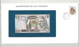 Billet Neuf  , Enveloppe Timbrée Oblitérée , Zambie , Bank Of Zambia, One, 1 Kwacha ,  Frais Fr : 1.95 Euro - Zambia