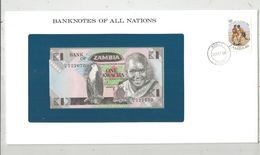 Billet Neuf  , Enveloppe Timbrée Oblitérée , Zambie , Bank Of Zambia, One, 1 Kwacha ,  Frais Fr : 1.95 Euro - Zambie