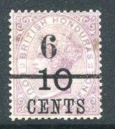 British Honduras 1891 QV Local Surcharge 6c On 10c On 4d Mauve - Black Overprint LHM (SG 44) - Honduras Britannique (...-1970)