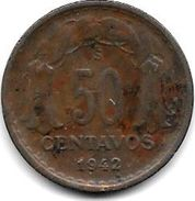 Chile 50 Centavos 1942 Km 178   Vf+ - Chili