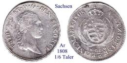 DL-1808 , 1/6 Taler,  Sachsen - Piccole Monete & Altre Suddivisioni