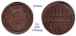 DL-1803 3 Pfennig,  Sachsen - Piccole Monete & Altre Suddivisioni
