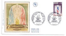 FDC -10/11/1973 Premier Jour -50e Anniversaire De La Flamme Sous L'Arc De Triomphe - FDC
