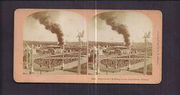 USA ATLANTA GEORGIA Photo Double Stéréoscopique Sur Carton épais Hagenbeck's Building On Fire Exposition - Incendie 1895 - Atlanta