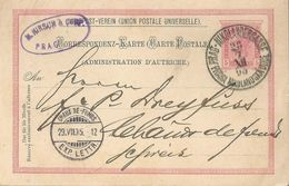 "Correspondenz Karte  ""Hirsch, Prag"" - Chaux-de-Fonds             1895 - Entiers Postaux"