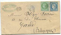 N°53 + N°60 + Ambulant LP + Cachet Convoyeur Station /lettre  De Belleville Sur Saône Pour  Gand (Belgique) - 1871-1875 Ceres