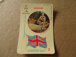 CARTE A JOUER MIROIR SPRINT BRIAN ROBINSON ANGLETERRE CYCLISME CYCLISTE PUBLI STAR  TBE - Cycling