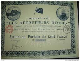 """Action""""Les Affréteurs Réunis"""" Paris 1919 Transport Soc.maritime (train,bateau)Excellent état,reste Des Coupons. - Transports"""