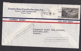 Cuba: Airmail Cover To Canada, 1940s, 1 Stamp, Airplane, Censored, Uncommon Censor Markings (traces Of Use) - Cuba