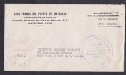 Cuba: Official Cover To USA, 1940s, Censored, French Zone Harbour Matanzas, Propaganda Cancel Victory UN (traces Of Use) - Cuba