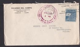 Cuba: Cover To UK, 1945, 1 Stamp, Tobacco, Cigars, Censored, Censor Mark, Cancel Sugar (stamp & Backside Damaged!) - Cuba