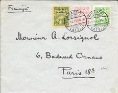 LETTONIE ENVELOPE CIRCULEE RIGA 1934 A PARIS FRANCE A MONSIEUR LORSIGNOL AVEC 3 COULOURS FRANKING AVEC 2 CERTIFICATIONS - Lettonie
