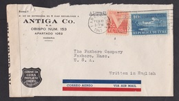 Cuba: Airmail Cover To USA, 1943, 2 Stamps, Airplane, Victory, Censored, Censor & Air Label (damaged, See Scan) - Cuba